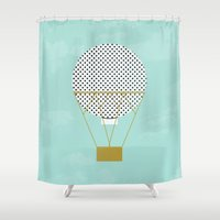 hot air balloon Shower Curtains featuring GREEN HOT AIR BALLOON by Allyson Johnson