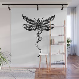 Dragonfly  bw Wall Mural