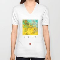 pixel V-neck T-shirts featuring pixel pixel by David Mark Lane