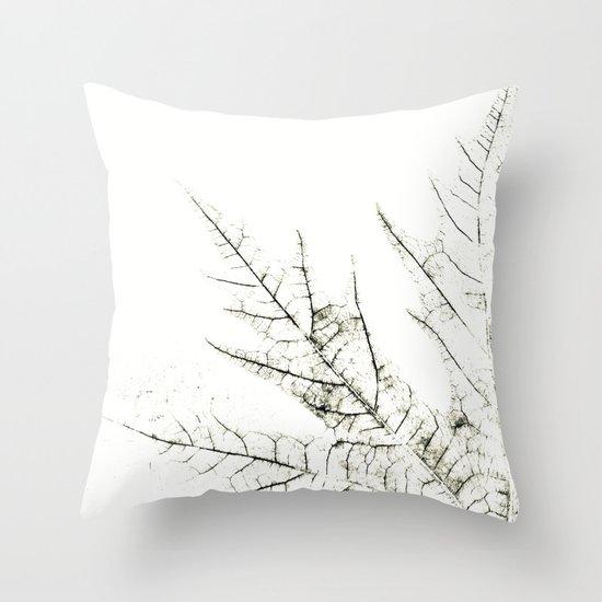 Maple Leaf Silhouette On  White Background Throw Pillow