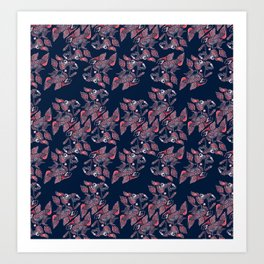 Red on blue foliage Art Print