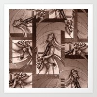 Guitarist Sepia tone collage Art Print