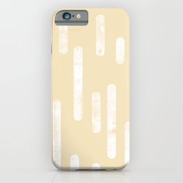White on Pale Neutral Yellow   Large Scale Inky Rounded Lines Pattern iPhone Case