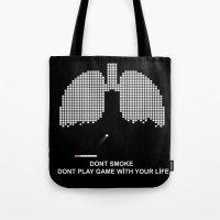 tetris Tote Bags featuring Smoke Tetris by ArtSchool