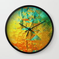 golden Wall Clocks featuring Golden by SensualPatterns