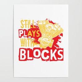 Still plays with Blocks speedshop motor V8 race Poster