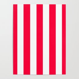 Carmine red - solid color - white vertical lines pattern Poster