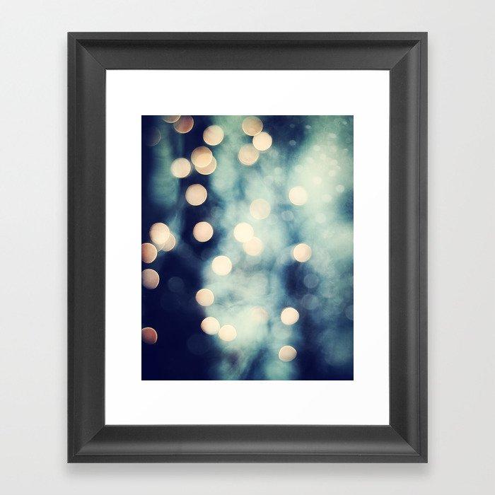 Bokeh Lights Sparkle Photography, Navy Gold Sparkly Abstract Photograph Gerahmter Kunstdruck