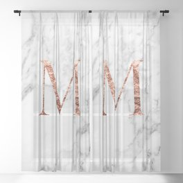Monogram rose gold marble M Sheer Curtain