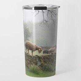 Sheep on Stone Wall Travel Mug