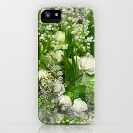 Floral Art In Green And White iPhone Case