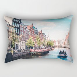 Colorful Amsterdam Canals   Europe Travel City Urban Landscape Photography Rectangular Pillow