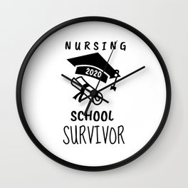 Nursing School Survivor - Nursing Student - Nurse Gift - 2020 Graduation - RN - LPN - CNA - Nurse Appreciation Wall Clock