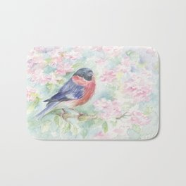 Wildlife Singing bird Spring scene Bullfinch in the blossom Watercolor painting Pastel colors decor Bath Mat