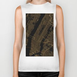 Black and gold New York City map Biker Tank