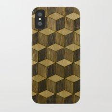 Optical wood cubes iPhone X Slim Case