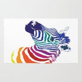 Rainbow Zebra Colorful Animals Whimsical Art Rug