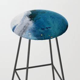 In the Surf: a vibrant minimal abstract painting in blues and gold Bar Stool
