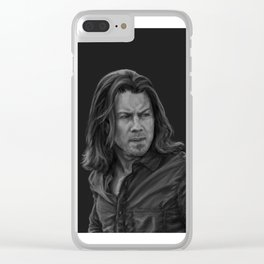 Eliot Spencer Greyscale Clear iPhone Case