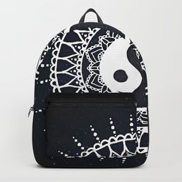 Yin Yang Mandala / White Mandala over stars Backpack