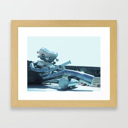 Robot and Banjo Framed Art Print