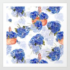 Cape Cod Hydrangeas and Baskets Art Print