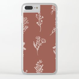 Botanical Wildflowers Line Art Clear iPhone Case