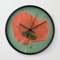 poppy Wall Clocks featuring Poppy by Cassia Beck