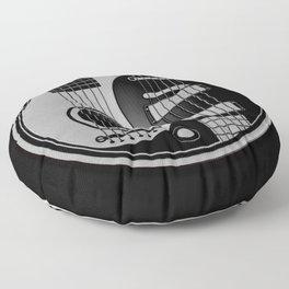 Guitar Yin Yang Gray and Black Floor Pillow