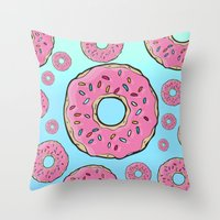 doughnut Throw Pillows featuring Doughnut by Sara Eshak