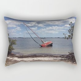 Red Sailboat Aground Rectangular Pillow