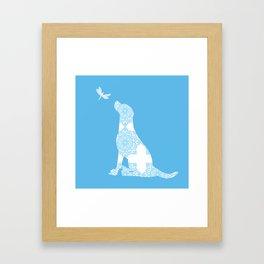 Labrador Retreiver Dog On Blue Colour Gerahmter Kunstdruck