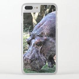 painted hippopotamus Clear iPhone Case