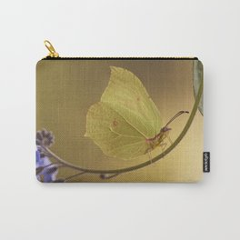 Yellow butterfly on blue forget-me-not flowers Carry-All Pouch