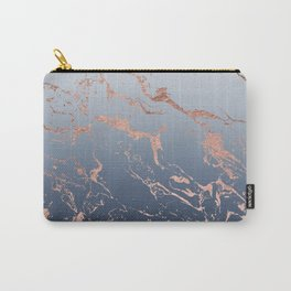Modern grey navy blue ombre rose gold marble pattern Carry-All Pouch