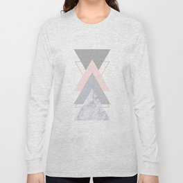 Blush Marble Gray Gold Geometric Pattern Long Sleeve T-shirt