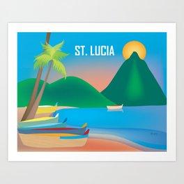 St. Lucia - Skyline Illustration by Loose Petals Art Print