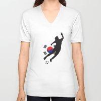 korea V-neck T-shirts featuring Korea Republic - WWC by Alrkeaton