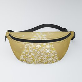 Gold Snowflakes Sparkling Christmas Tree Fanny Pack