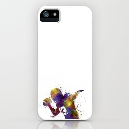 american football player quarterback passing portrait silhouette iPhone Case