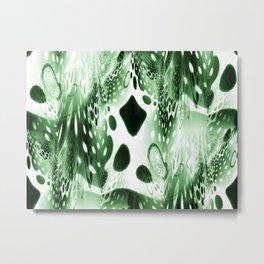 Green Circles, Drops and Drips Metal Print