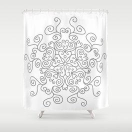 Gray Line Swirl Mandala Shower Curtain