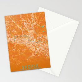 Skopje, North Macedonia, Gold, Blue, City, Map Stationery Cards