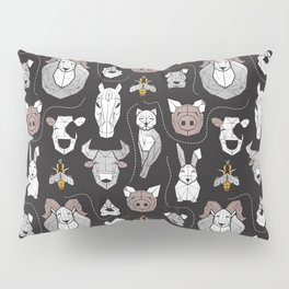 Friendly Geometric Farm Animals // black background black and white brown grey and yellow pigs queen bees lambs cows bulls dogs cats horses chickens and bunnies Pillow Sham