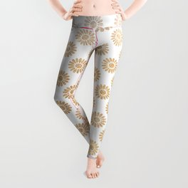 Trendy white faux gold glitter daisies floral pattern Leggings
