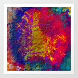 Mandala Colur Burst Art Print