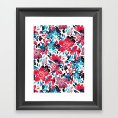 Happy Red Flower Collage Framed Art Print