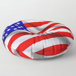 American USA flag. The flag flutters in waves Floor Pillow
