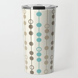 Retro Aqua and Brown Circled Stripes Travel Mug
