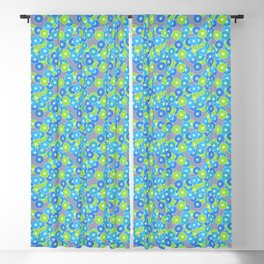 Art Deco Stylized Flower Pattern Blue and Lime Green Blackout Curtain
